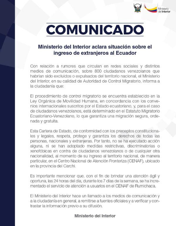 Ministerio del interior aclara situaci n sobre ingreso de for Twitter ministerio del interior ecuador